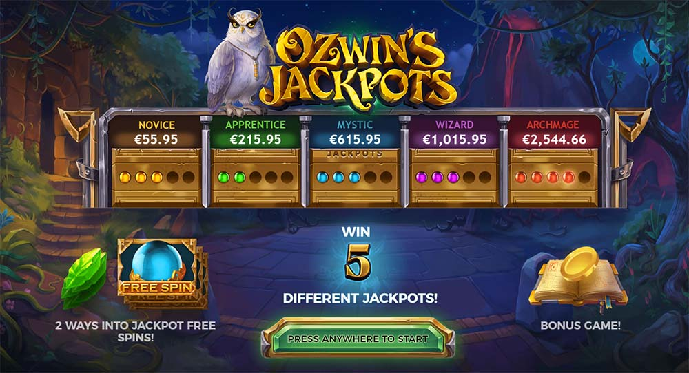 Ozwin's Jackpots Slot - Intro Screen