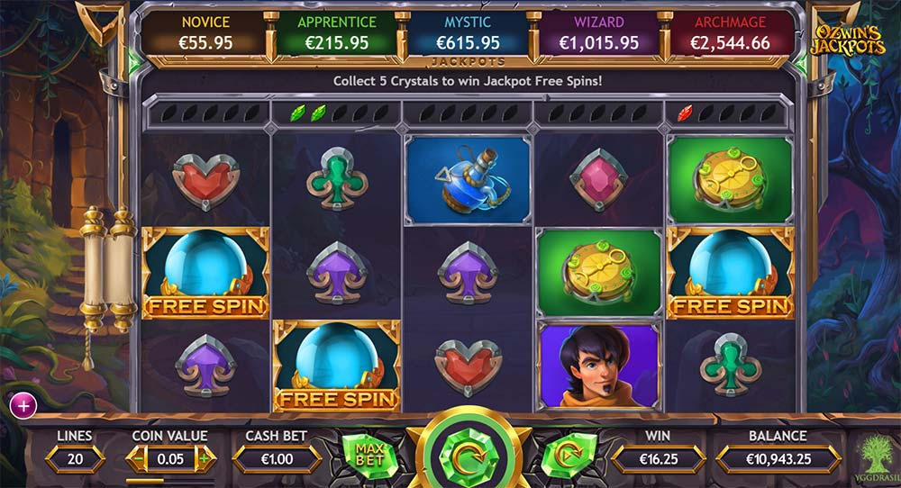 Ozwin's Jackpots Slot - Free Spins Trigger