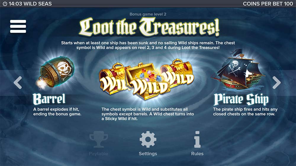 Wild Seas Slot - Level 2 Bonus Info