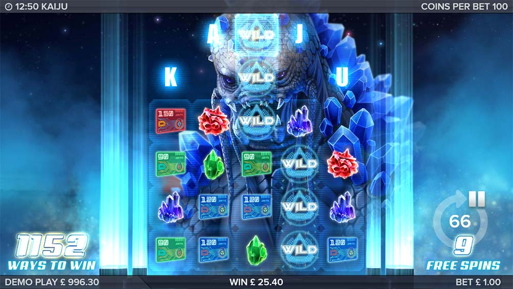 Kaiju Slot - Reel Expansion during Free Spins