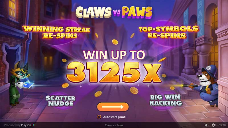 Claws vs Paws Slot - Intro Screen