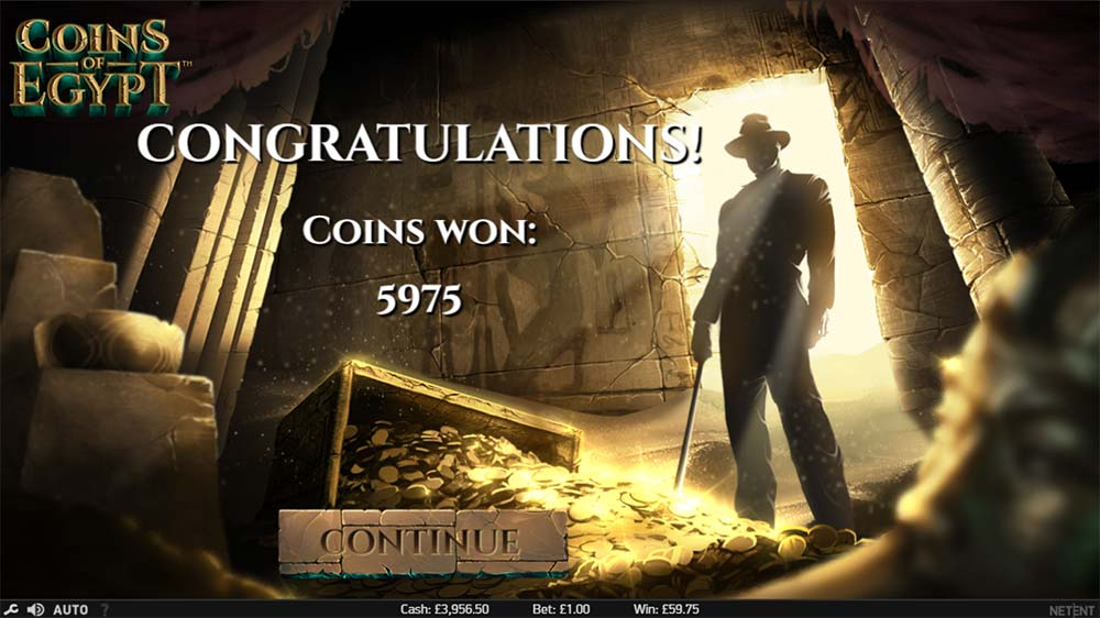 Coins of Egypt Slot - Bonus End Screen