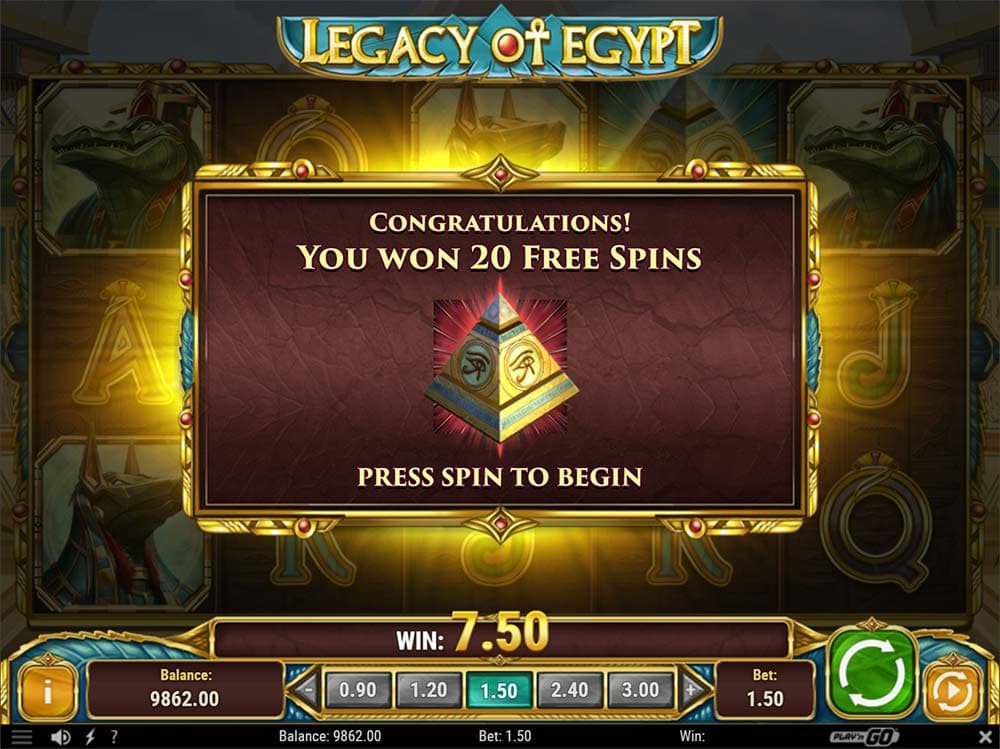 Legacy of Egypt Slot - Bonus Trigger