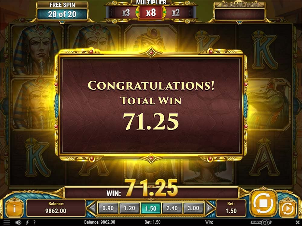 Legacy of Egypt Slot - Bonus End Result