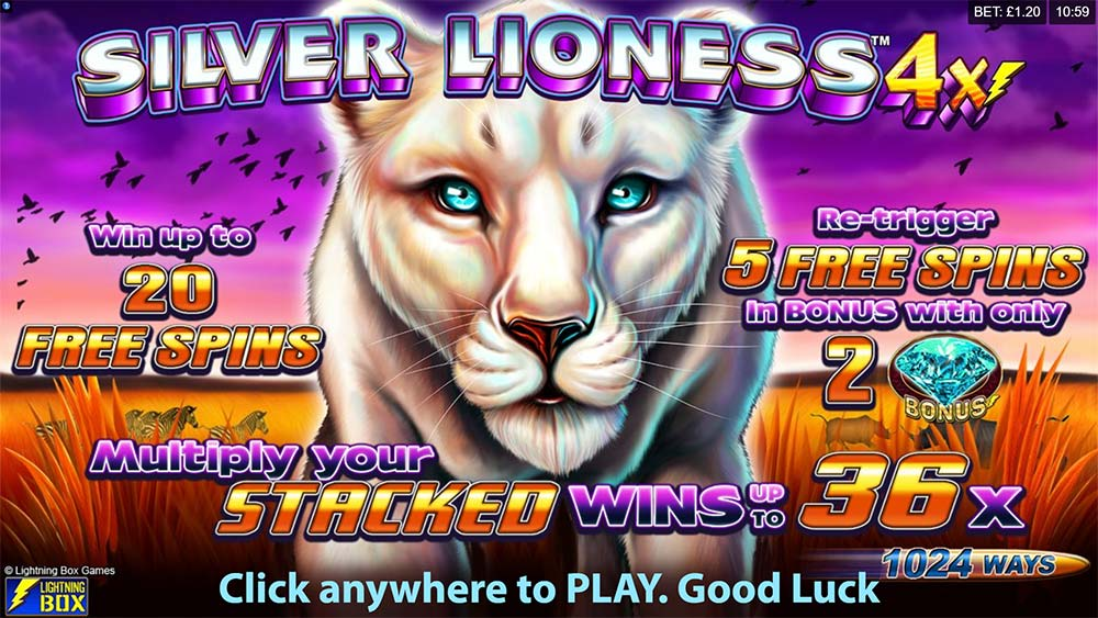 Silver Lioness 4x Slot - Intro Screen