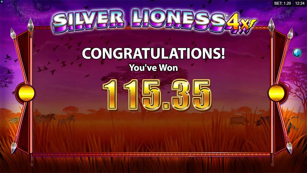 Silver Lioness 4x Slot - Bonus End Screen