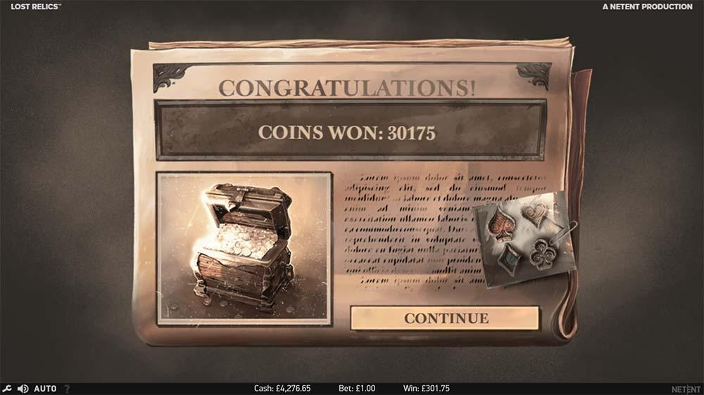 Lost Relics Slot - Bonus End