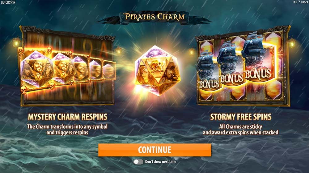 Pirate's Charm Slot - Intro Screen