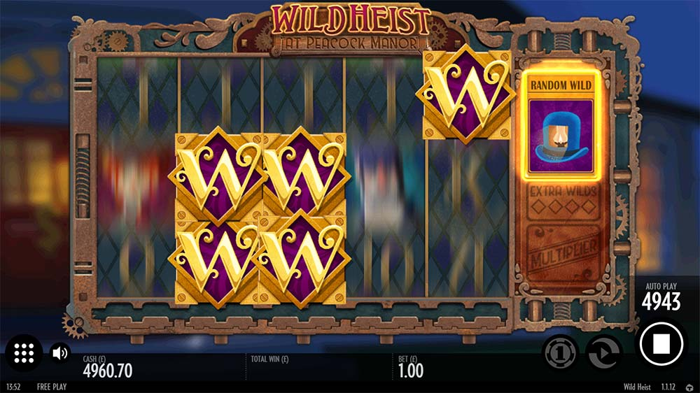 Wild Heist At Peacock Manor Slot - Random Wilds Feature