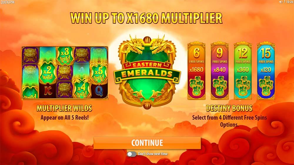 Eastern Emeralds Slot - Intro Screen
