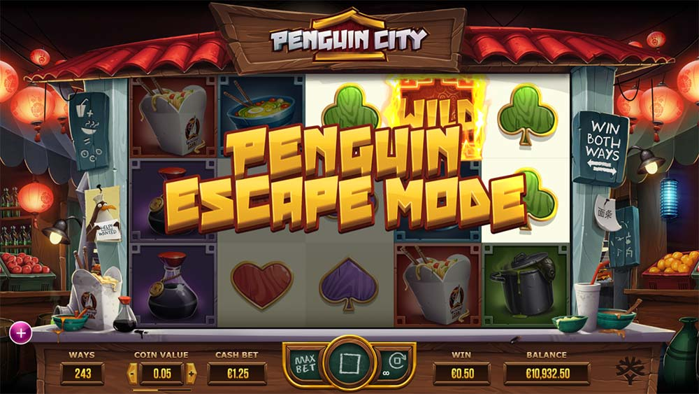 Penguin City Slot - Penguin Escape Mode Triggered