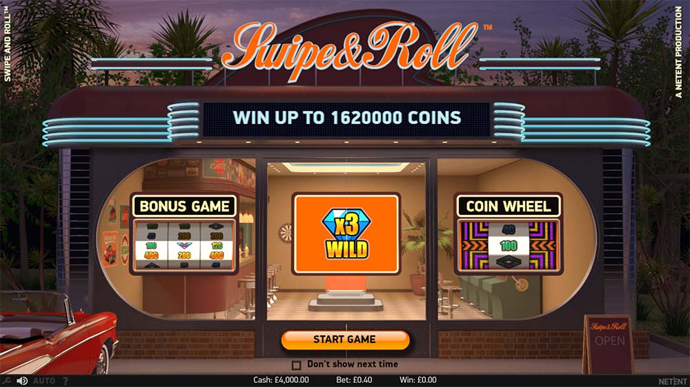Swipe and Roll Slot - Intro Screen