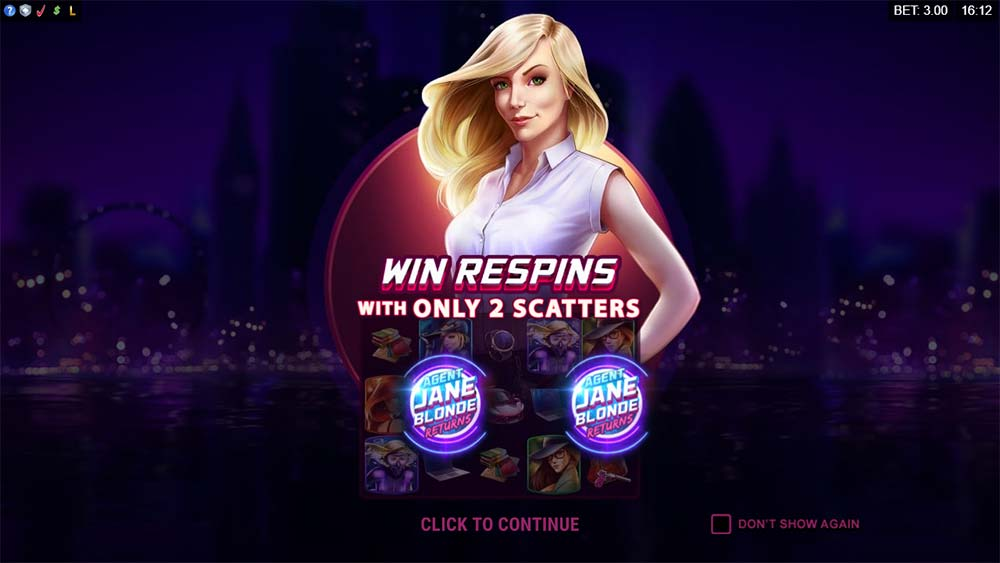 Agent Jane Blonde Returns Slot - Intro Screen