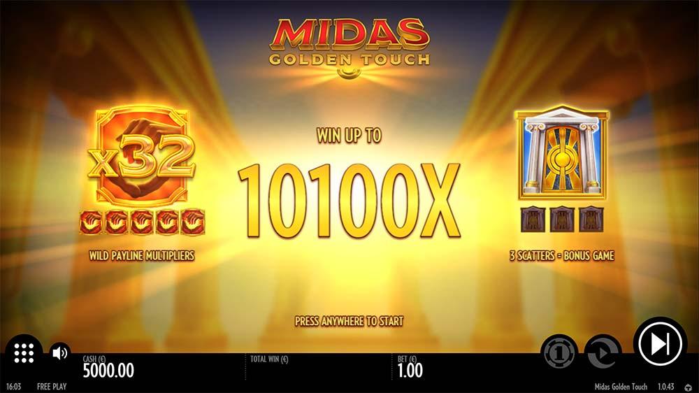 Midas Golden Touch Slot - Intro Screen
