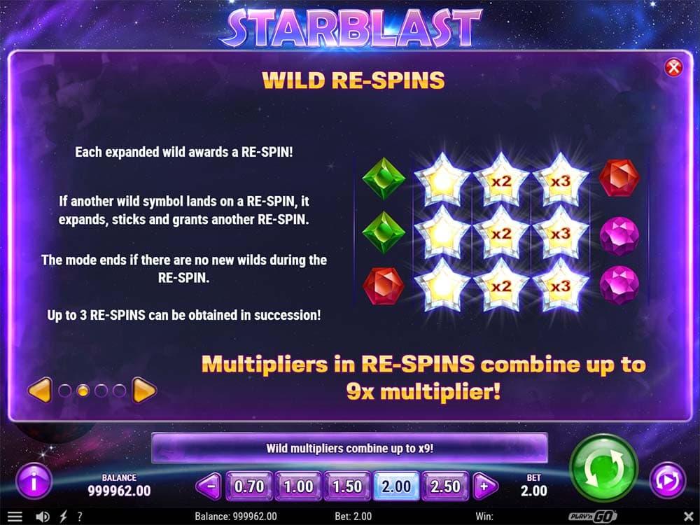 Starblast Slot - Wild Re-Spins