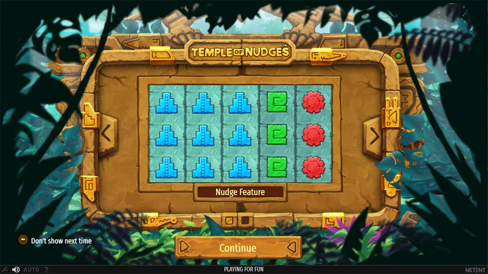 Temple of Nudges Slot - Intro Screen
