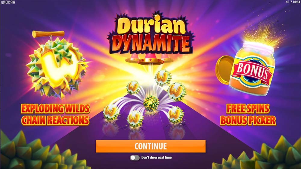Durian Dynamite Slot - Intro Screen