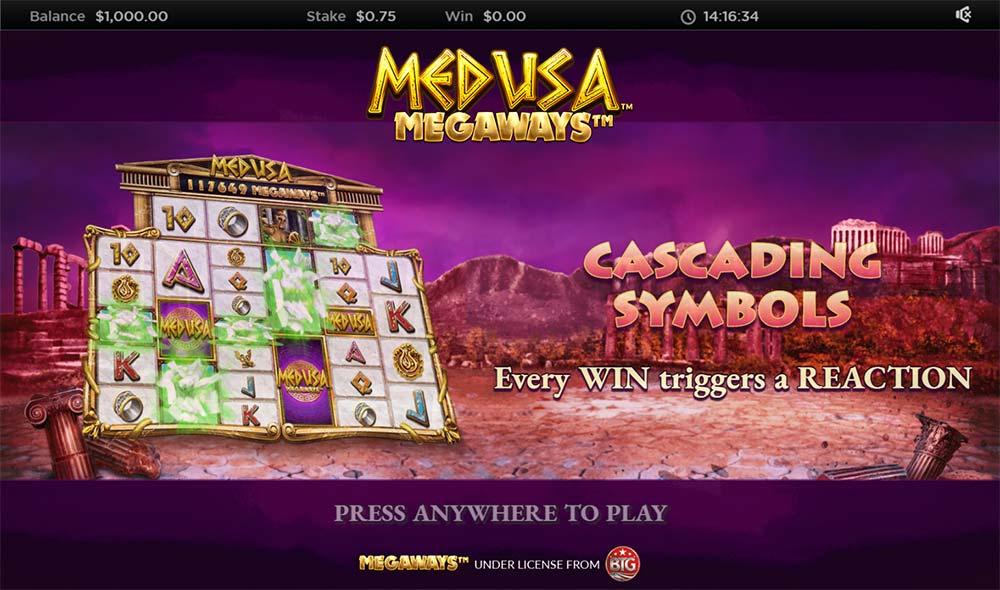 Medusa Megaways Slot - Intro Screen