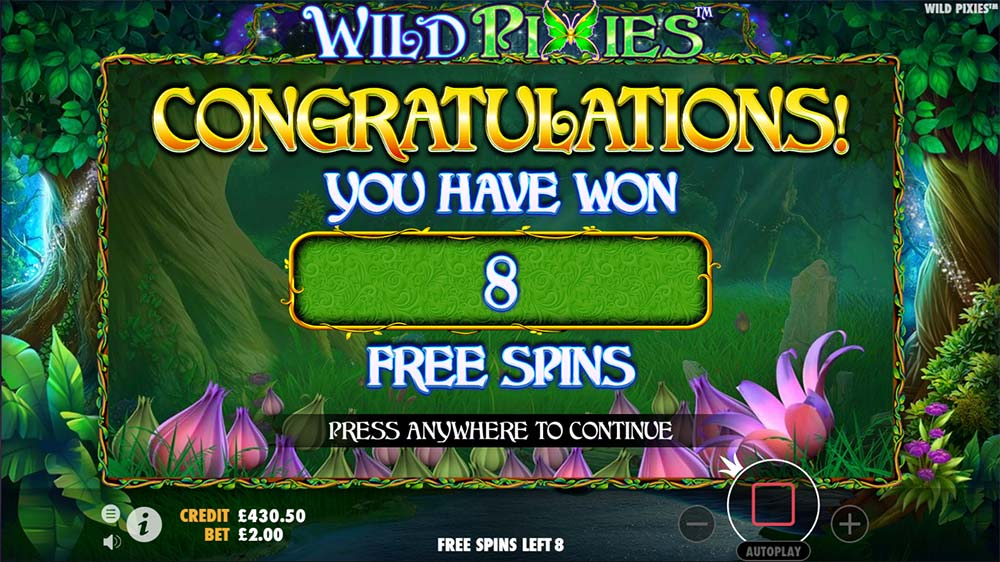 Wild Pixies Slot - Free Spins Awarded