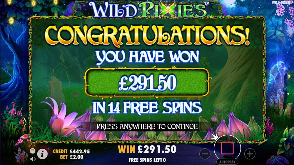 Wild Pixies Slot - Bonus End Result