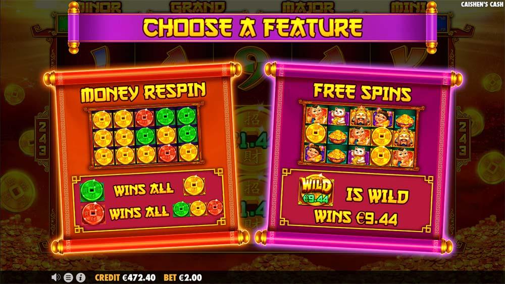 Caishen's Cash Slot - Bonus Option Screen