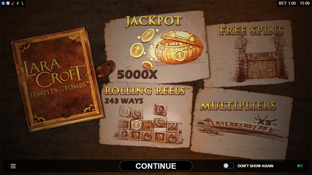 Lara Croft Temples and Tombs Slot - Intro Screen