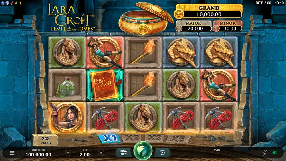 Lara Croft Temples and Tombs Slot - Base Gameplay