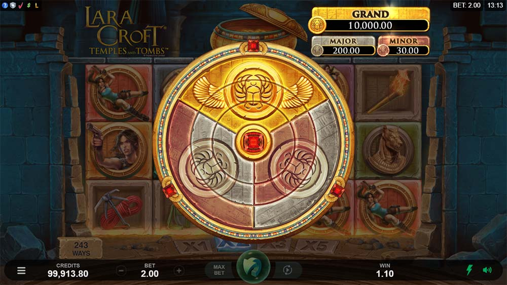 Lara Croft Temples and Tombs Slot - Jackpot Wheel