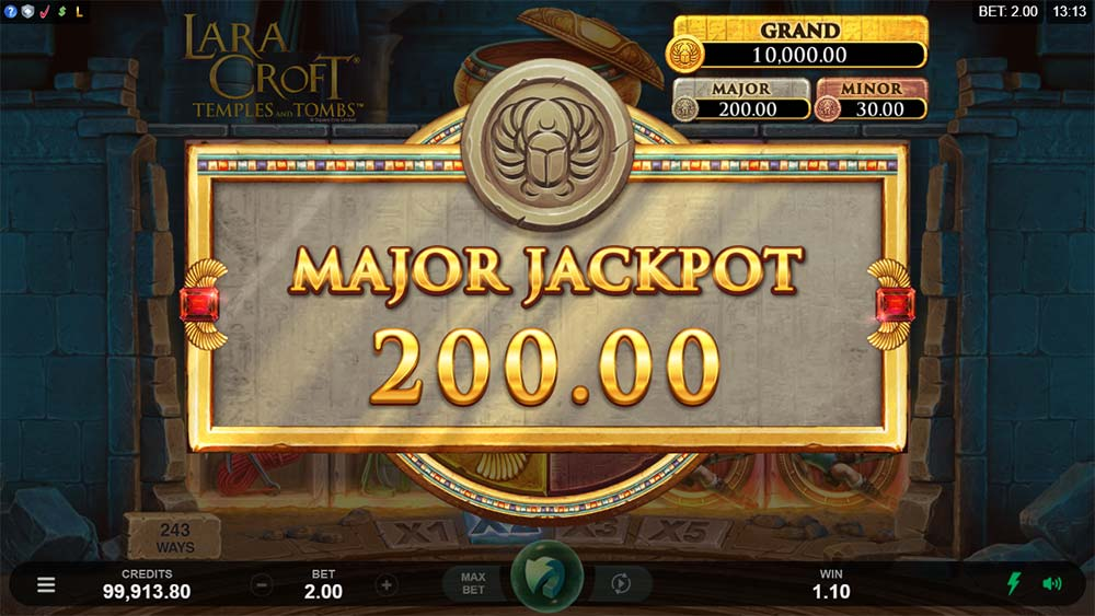 Lara Croft Temples and Tombs Slot - Major Jackpot Won