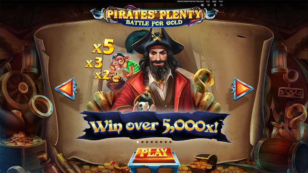 Pirates' Plenty Battle For Gold Slot - Intro Screen