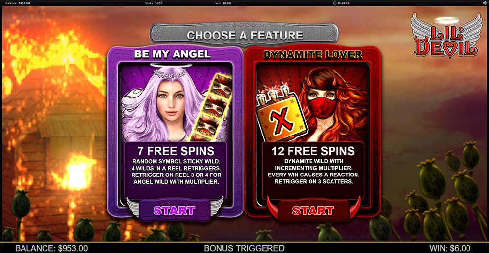 Lil Devil Slot - Bonus Selection Screen