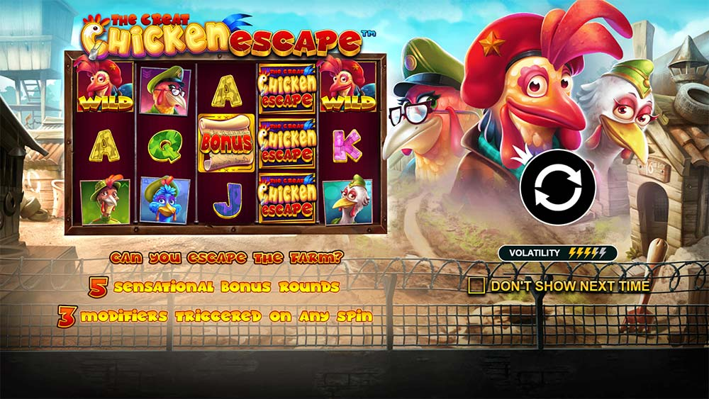 The Great Chicken Escape Slot - Intro Screen