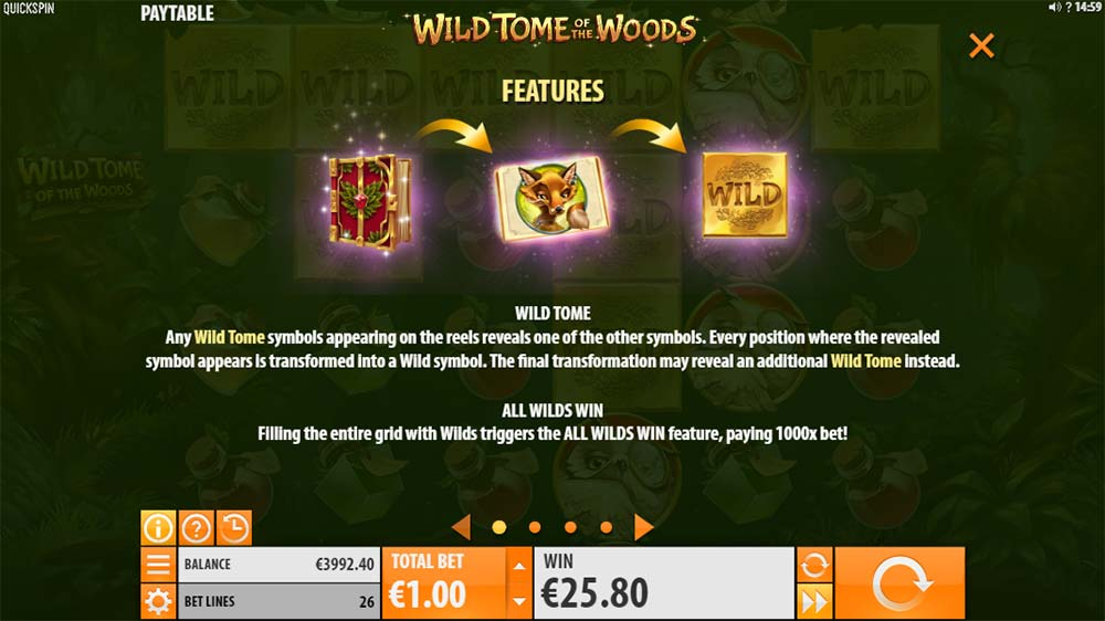 Wild Tome of the Woods Slot - Feature Explanation