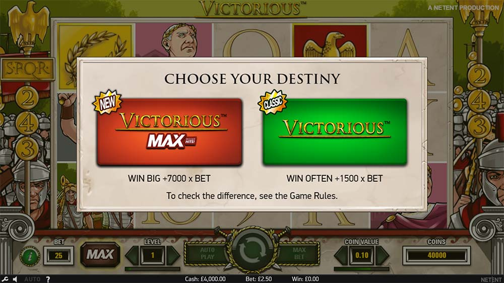 Victorious Max Slot - Classic/Max Versions