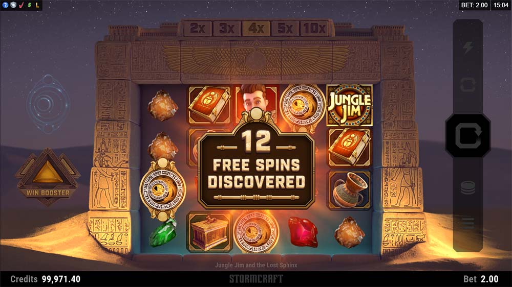 Jungle Jim and the Lost Sphinx Slot - Free Spins Triggered