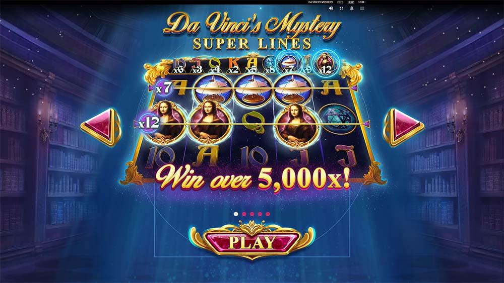 Da Vinci's Mystery Slot - Intro Screen