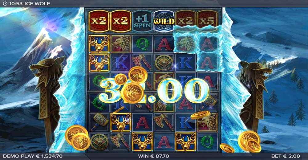 Ice Wolf Slot - Multipliers and Wilds Features