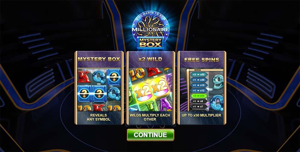 Millionaire Mystery Box Slot - Intro Screen