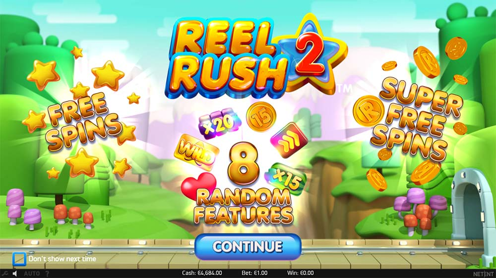 Reel Rush 2 Slot - Intro Screen