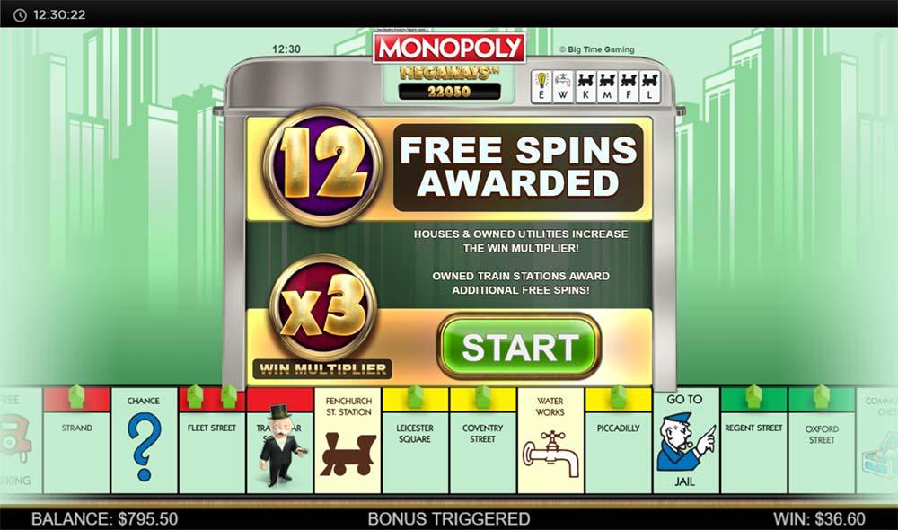 Monopoly Megaways Slot - Bonus Start