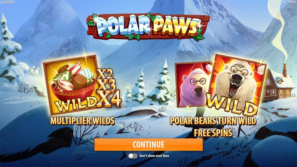 Polar Paws Slot - Intro Screen