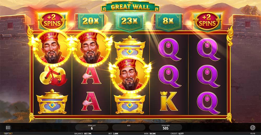The Great Wall Slot - 3 Symbol Win