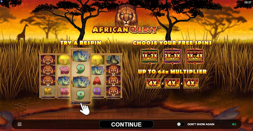 African Quest Slot - Intro Screen