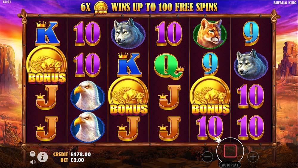 Buffalo King Slot - Free Spins Triggered