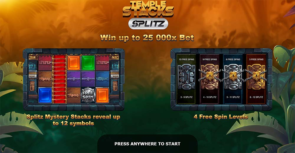 Temple Stacks Splitz Slot - Intro Screen
