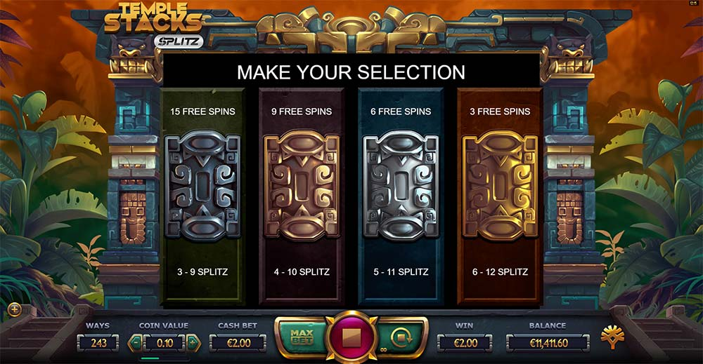 Temple Stacks Splitz Slot - Free Spins Options