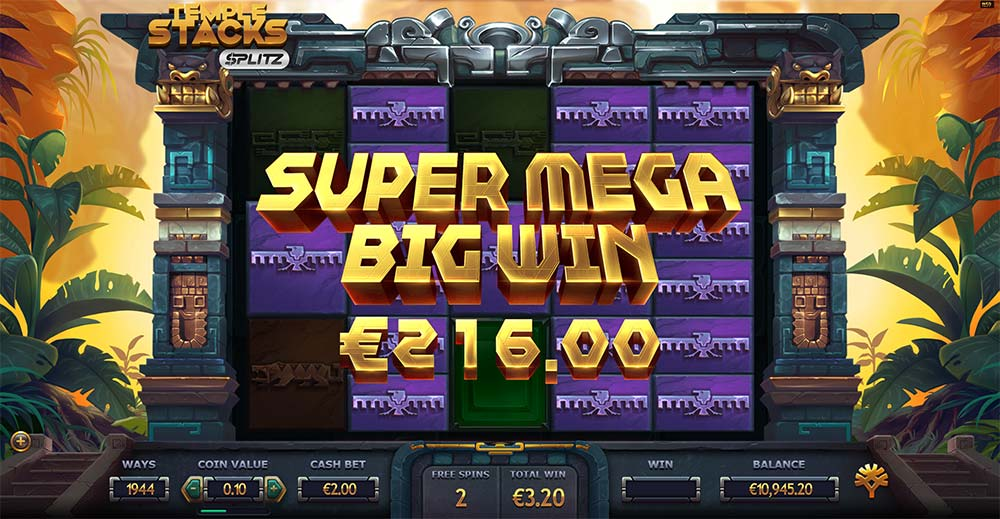 Temple Stacks Splitz Slot - Super Mega Big Win
