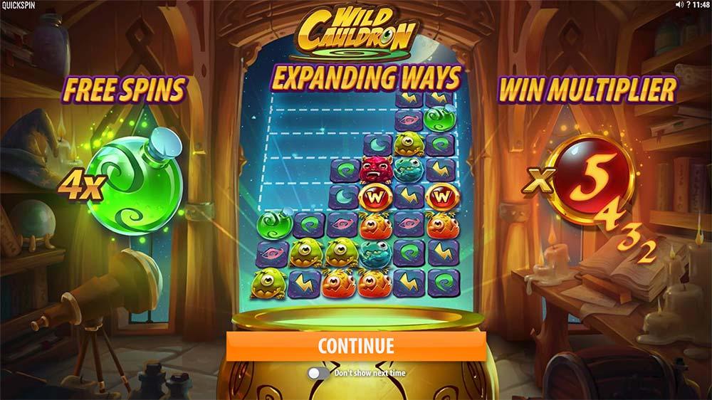 Wild Cauldron Slot - Intro Screen