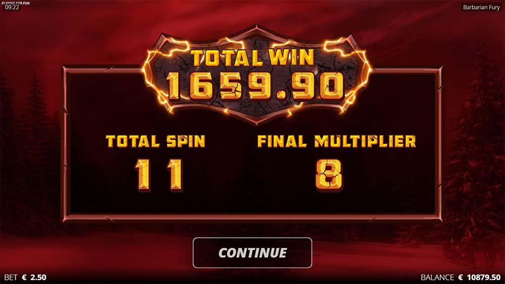 Barbarian Fury Slot - Bonus End