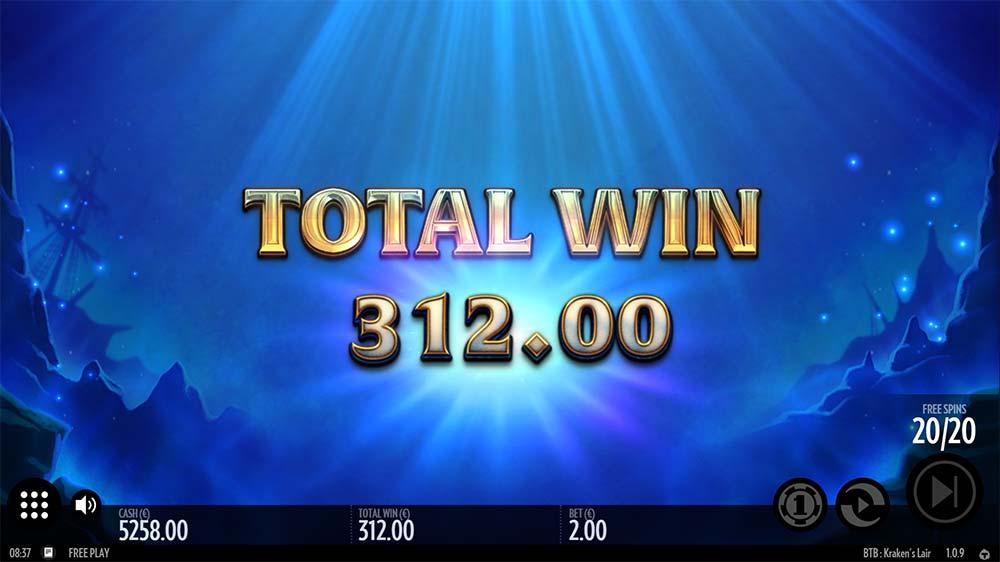 Kraken's Lair Slot - Bonus End